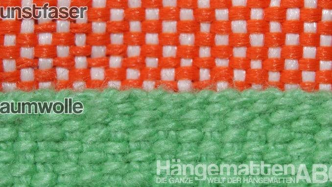 HamacTex (Kunstfaser) im Vergleich mit Baumwollstoff
