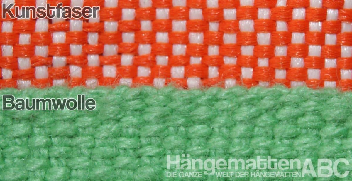 Kunstfaser (HamacText) verglichen mit Baumwollstoff für Hängesessel