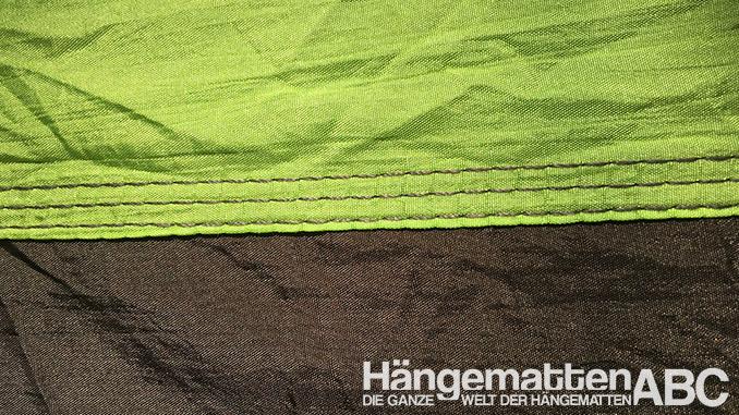 Grüne und braune Fallschirmseide vernäht