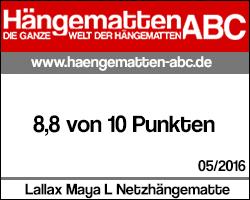 Testsiegel Lallax Maya L Netzhängematte: 8,8 von 10 Punkten