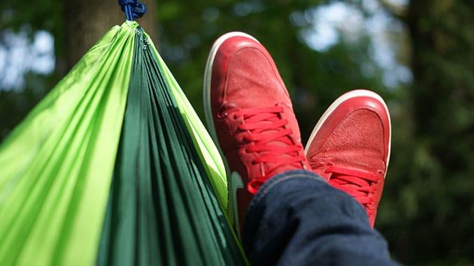 Aodoor Hängematte zu klein: Fäüße schauen fast raus
