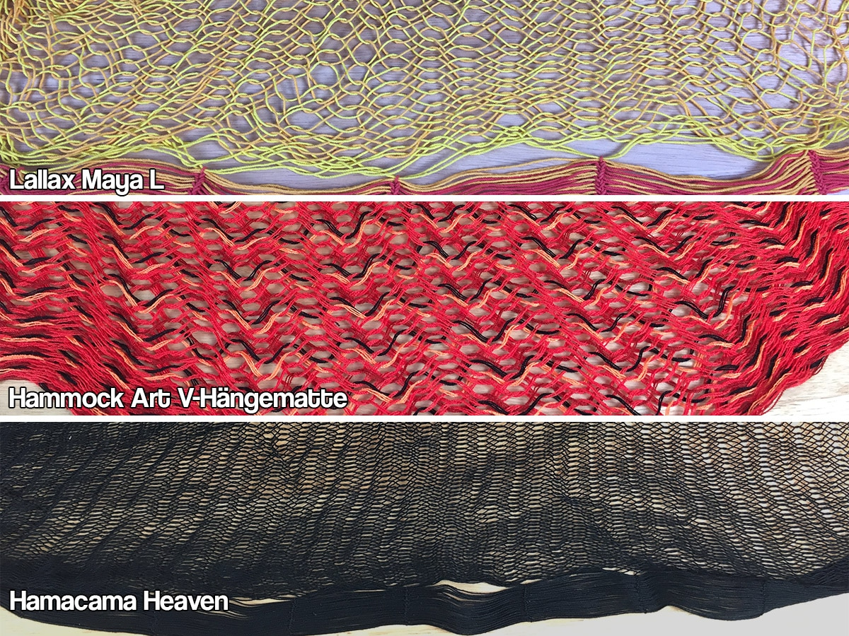 Vergleich verschiedener Netzhängematten: Oben Lallax, Mitte: Hammock Art, Unten: Hamacama